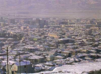 Korca,Albania aerial view
