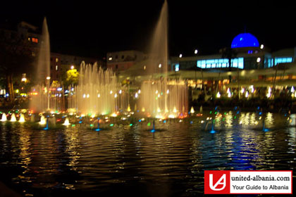 Tirana by night, dancing water at rinia park